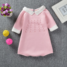 Super Cute Pink Girls Dress 1-4Y Knitted Crochet Baby Girl Romper 2Color Little Princess Dresses Jumpsuit