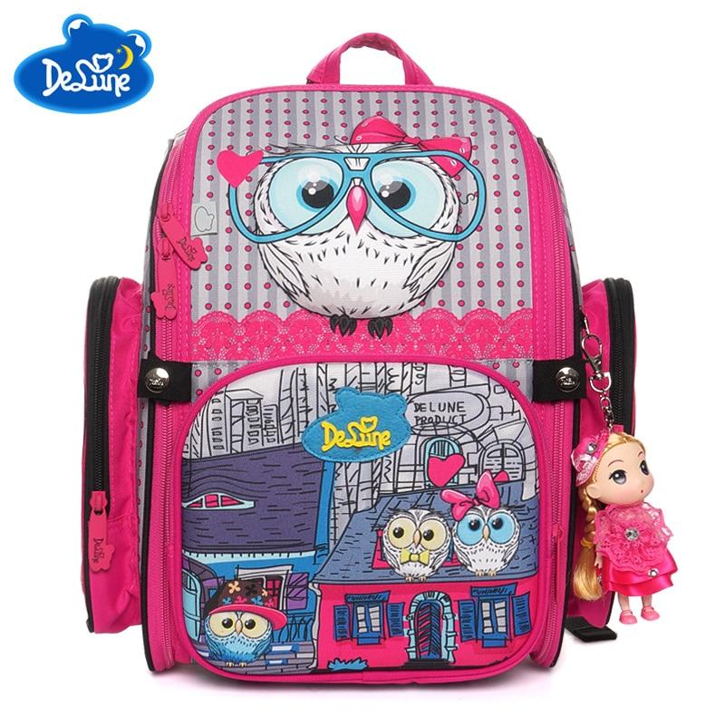 2019 marki Delune ortopedyczne torby szkolne dla dzieci dziewczyny kot druku 3D zwierząt dla dzieci kreskówki dla dzieci plecak Mochila Infantil klasy 1 3 w Torby szkolne od Bagaże i torby na  Grupa 1