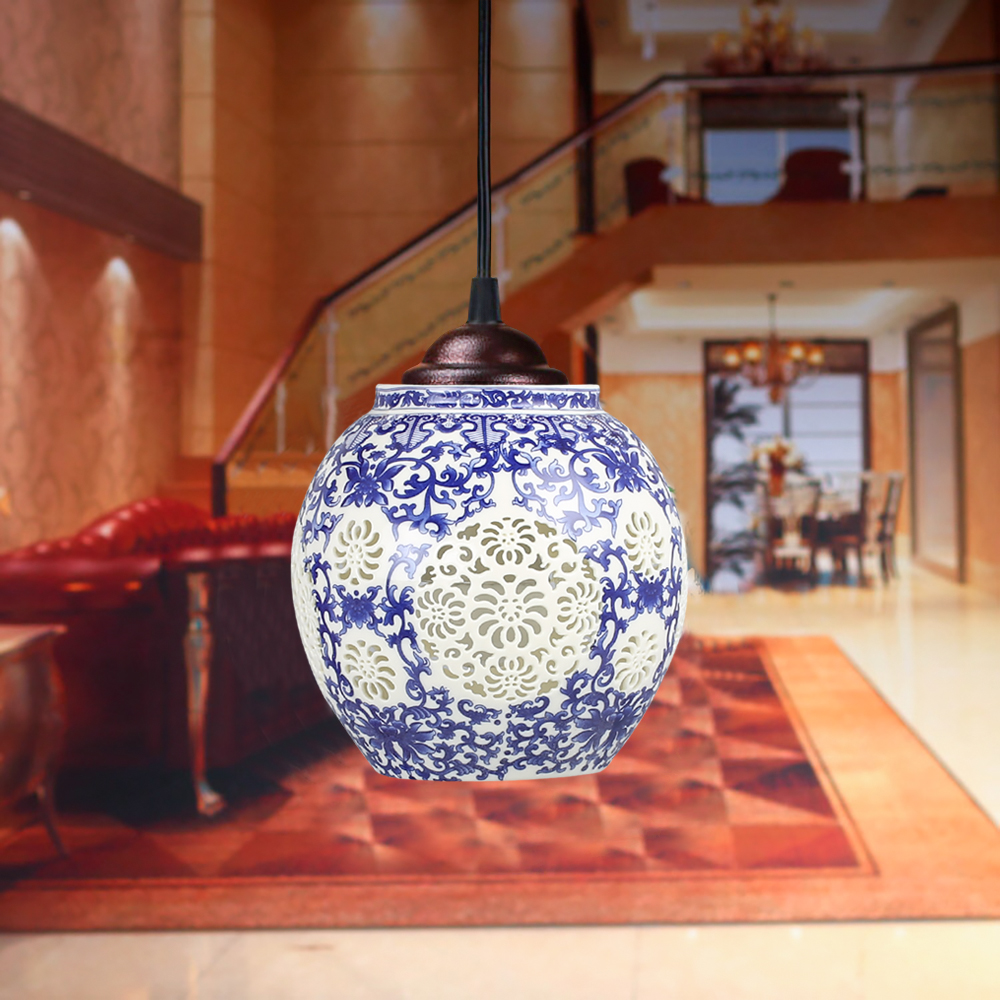 LED  Ceramic Chandelier,Chinese style lamps and lanterns, ceramic bar, balcony chandelier, vestibule, chandelier jingdezhen ceramic lamps and lanterns of blue and white enamel thin waist drum desk lamp506
