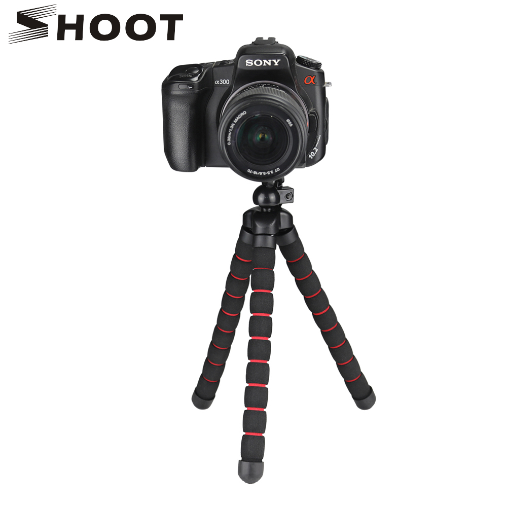 SHOOT Trípode pulpo flexible de gran tamaño para GoPro 7 6 5 Sjcam Xiaomi Yi 4K Eken Nikon Sony Canon D5200 DSLR Soporte para trípode