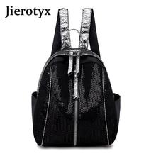JIEROTYX 2019 Female Backpack Women New Fashion High Quality Ladies Bag Shining Brand Design Girls Soft Black Bagpack