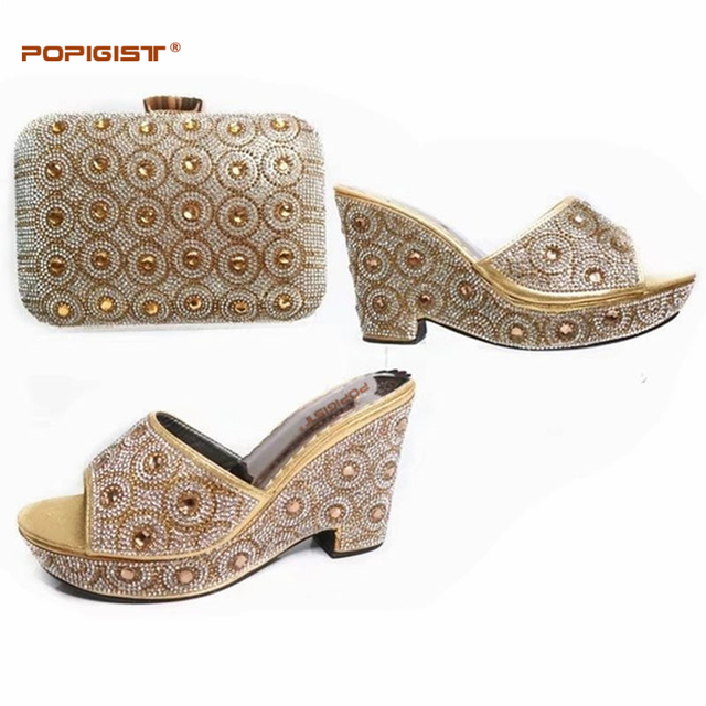 Gold New Arrival Wedges 2018 Italian Shoes with Matching