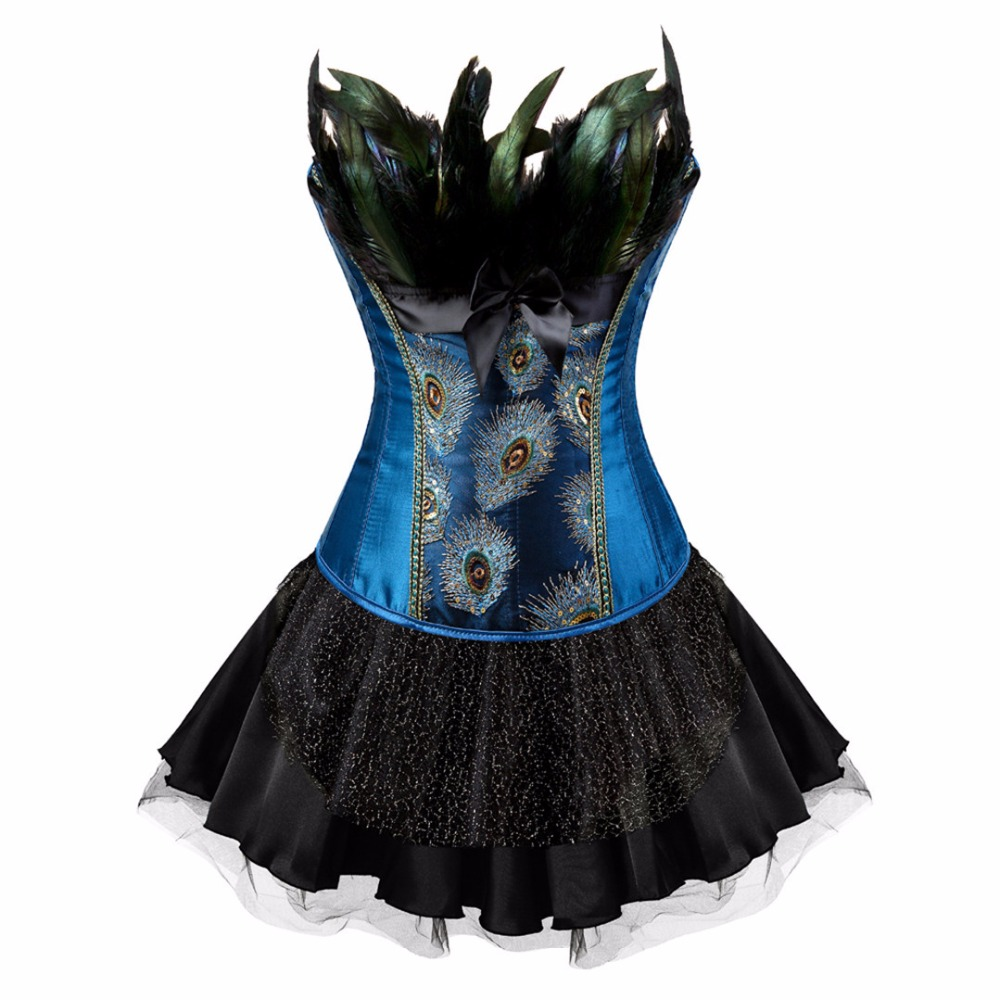 Plus Size 6XL   Corsets     Bustiers   Peacock Embroidery Princess Costumes Burlesque Overbust   Corsets   With Skirt Korset Feather Gothic