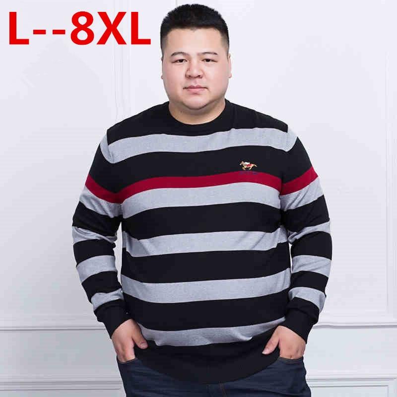 Pull Mâle Blanc 10xl 5xl Hommes 2 O Homme 2018 Plus 6xl Rayé Chandail 1 Dot 4x Printemps cou Nouveau 8xl Taille Tricoté qqwTB7z