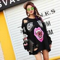 SexeMara Lips cut holes pinned loose long sleeves woman Sweatshirts Free shipping