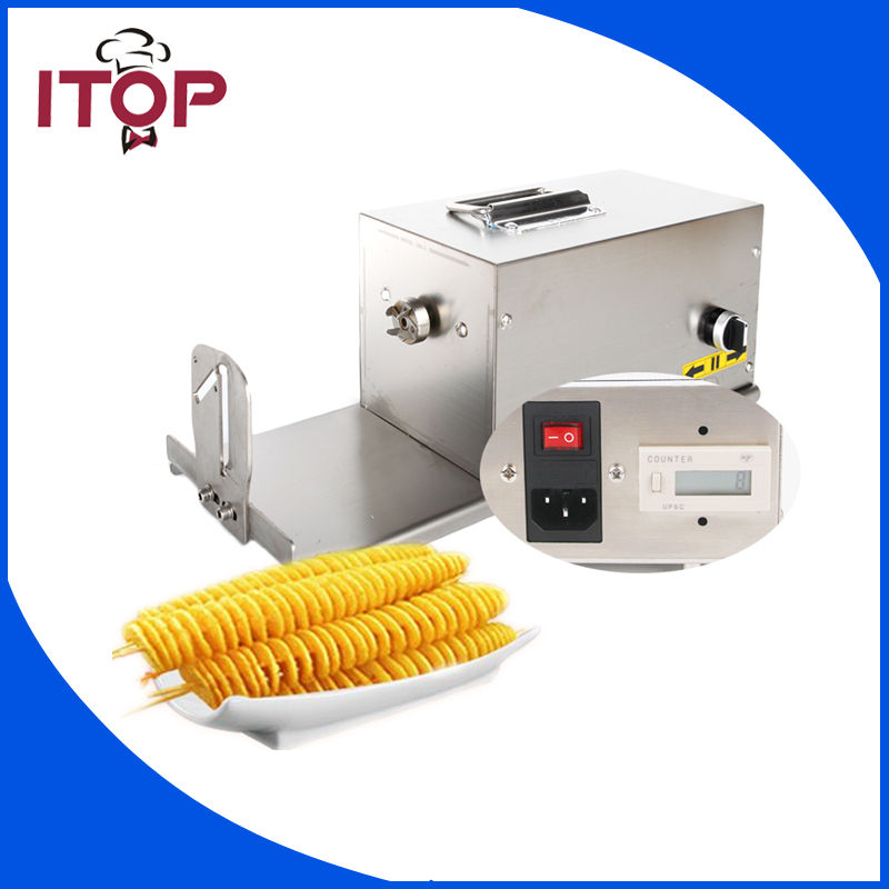ITOP Commercial Twisted Potato Slicer Electric Spiral Carrot Cutter Multifunctional  Vegetable Cutting Machine 110V 220V руководство twisted картофеля фри из нержавеющей стали slicer овощей