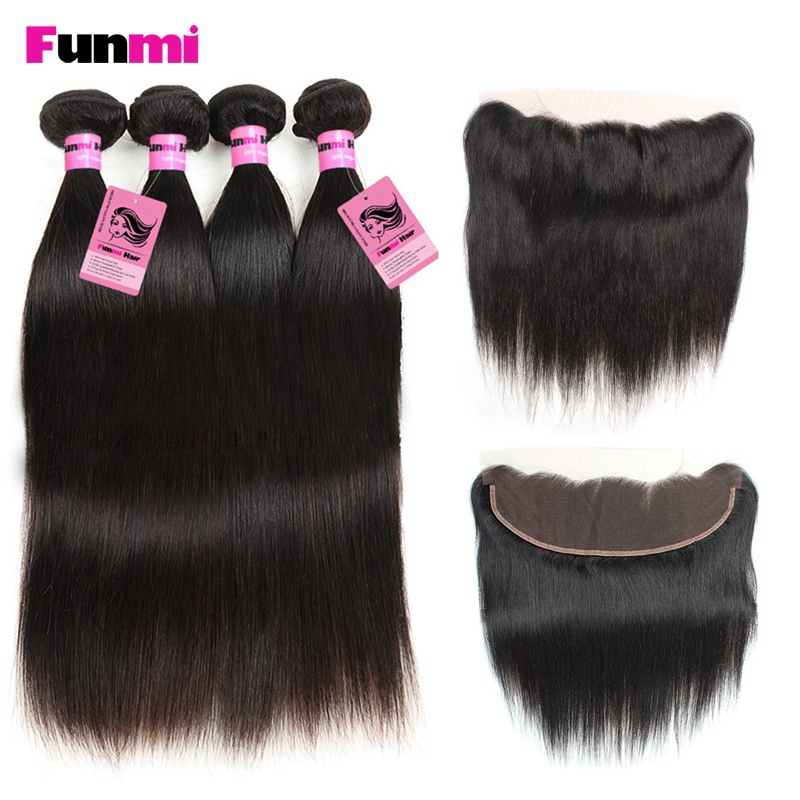 Funmi Indian Virgin Hair With Lace Frontal 4PCS Straight Hair Bundles With 13x4 Inch Frontal Closure Human Hair For Salon Hair