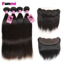 Funmi Indisk Virgin Hair med Lace Frontal 4PCS Lige Hår Bundler med 13x4 tommer Frontal Closure Menneskehår til Salon Hair