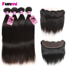Funmi Indian Virgin Hair with Lace Frontal 4PCS Straight Hair Bundles with 13x4 inch Frontal Closure Human Hair for Salon Hair(China)