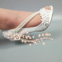 Brazil Bride Shoes Beautiful Satin Wedding Pearls Wristbands Lace Bridesmaid Toast Pumps 2cm Platform Open Peep Toe Heels 43