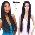 4 Colors Senegalese Twist Wig for Black Women Long Braided Lace Front Wig X-BRAID  Synthetic Havana Twist Lace Wig Black