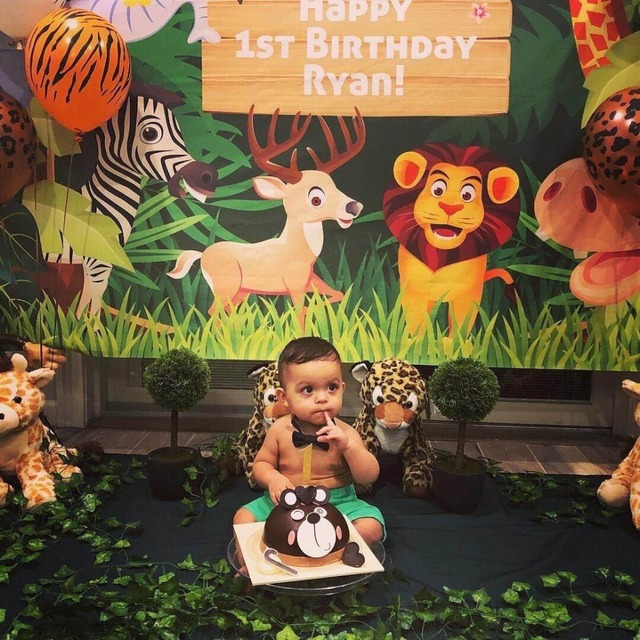 MEHOFOTO birthday backgrounds for photography studio Jungle party animals cartoon leaves forest kid backdrop printed photocall