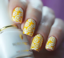 Black White Nail Stamping Polish Lacquer Gold Silver Nail Art Plate Stamp Oil White Night Stamping Series