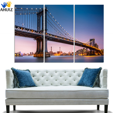 (No Frame)3 Panels/Set Large HD Picture City Night and Bridge Canvas Print Painting Artwork Wall Decorative Oil painting