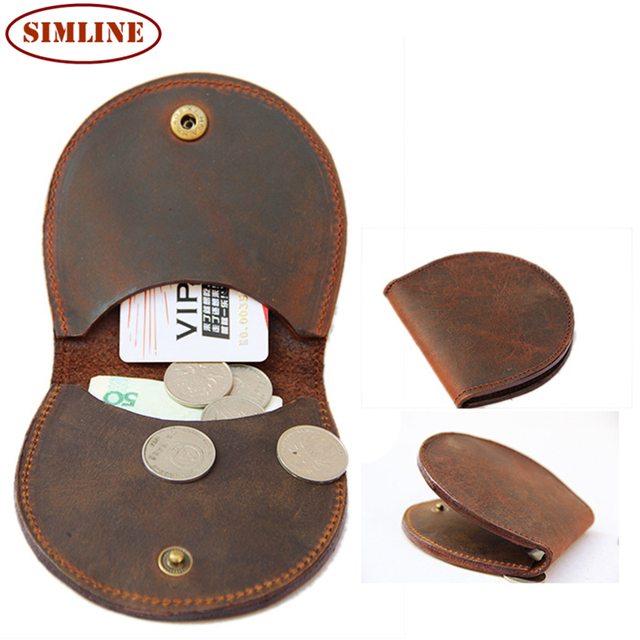 Vintage Casual Handmade 100% Genuine Crazy Horse Leather Cowhide Men Women Short Bi-fold Wallet Wallets Coin Purse Card Holder