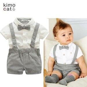 Kimocat bebê menino 2019 roupas de verão conjunto cavalheiro festa de casamento gravata + t-shirt + calças 3 pçs crianças meninos roupas verão aniversário menino