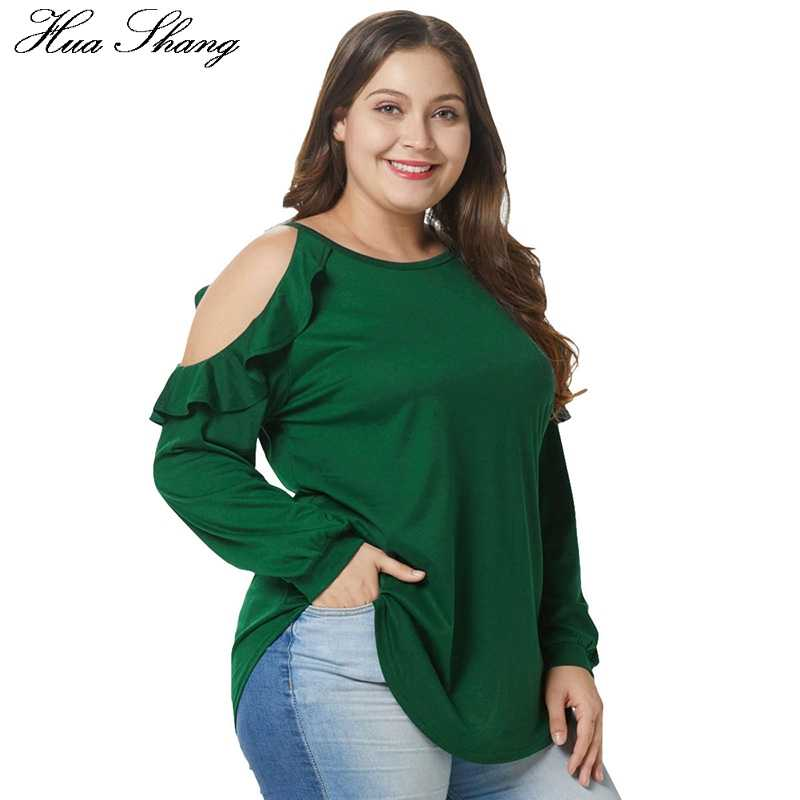 4867ba5c9ab961 ... Cold Shoulder Women Blouse Elegant Ruffles Long Sleeve Tunic Tops Green  Plus Size Women O Neck ...