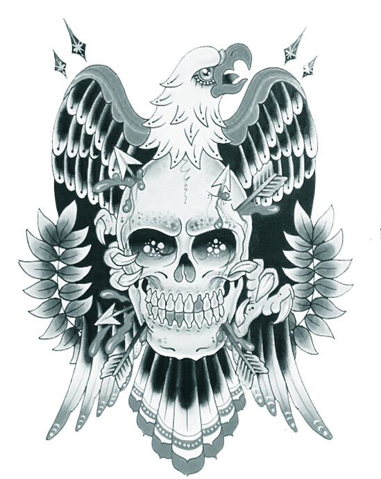 1sheet Eagle Temporary Tattoo 3d Skull Tattoo Sticker For Men Body