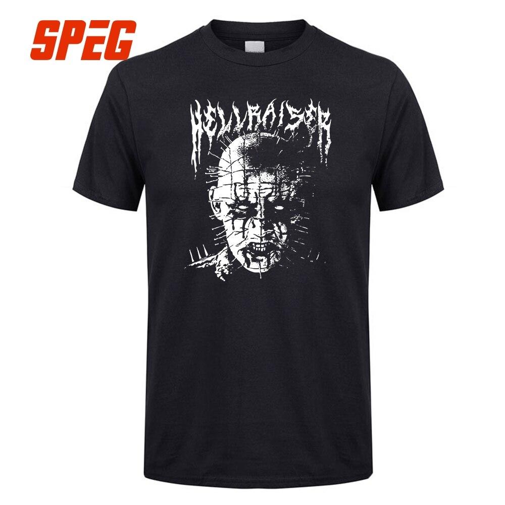 T Shirts Black Metal Pinhead Hellraiser Puzzlebox Halloween Men Crew Neck Short Sleeve T-Shirts On Sale Men's Tees Design Cotton