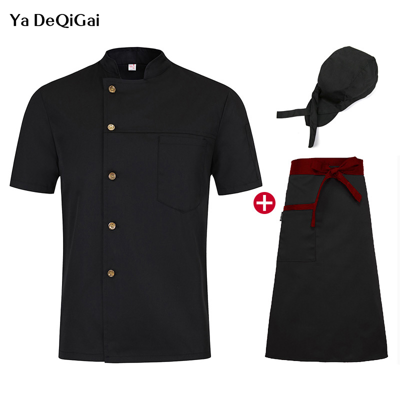 Short Sleeve Work Clothes Unisex Chef Uniform Hotel Kitchen Cotton Food Service Catering Chef Cooker Jacket M-4XL Chef Clothes