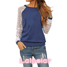 Fashion Lace Crochet Women Blouses Casual Round Neck Long Sleeve Blouse Shirt Patchwrok Hoodies Sweatshirts Tunic Blusas