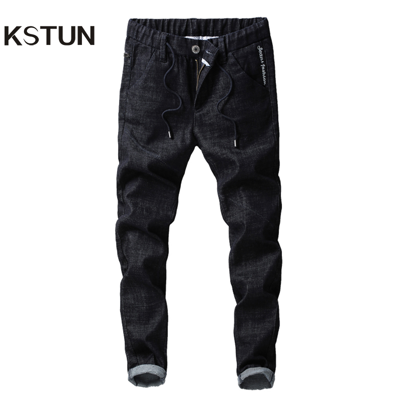 KSTUN Jeans Men Autumn Embroidered Black Stretch Elastic Waist Drawstring Slim Casual Pants Fake Zipper Classic Men Clothes 2018