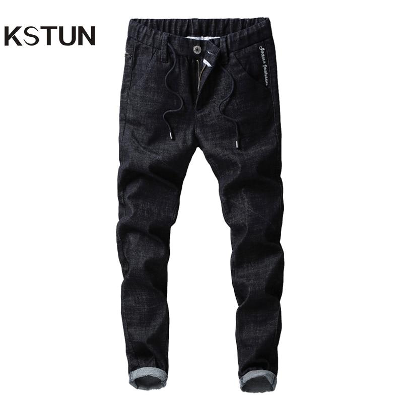 KSTUN Jeans Men Autumn Embroidered Black Stretch Elastic Waist Drawstring Slim Casual Pants Fake Zipper Classic men clothes 2018