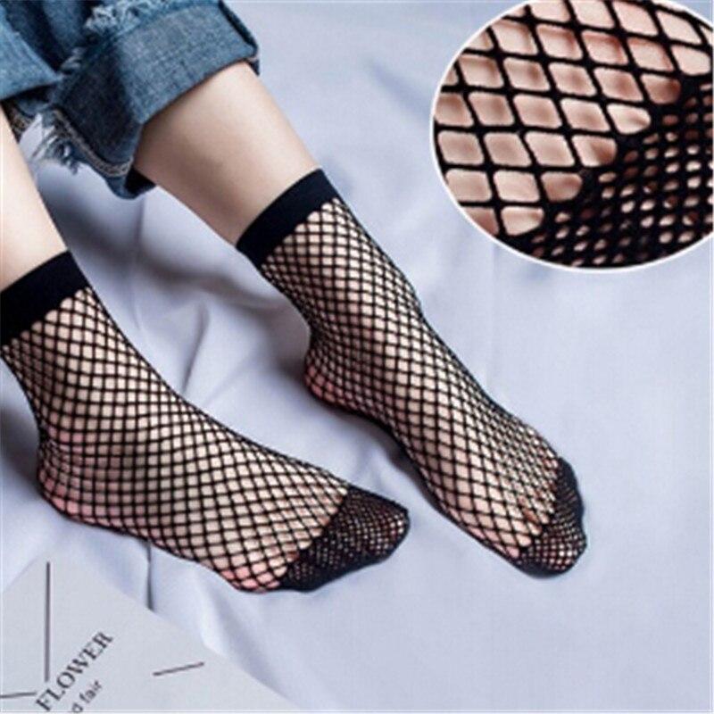 2018 Fashion Women Fishnet Ankle High   Socks   White Lady Mesh Lace Short   Socks   Winter For Beautiful Girl Winter 1 Pair