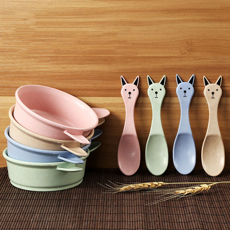 Newly 2 Set Food Tableware Kids Dishes Baby Feeding Eating Bowl Spoon Dinnerware Sets 8 ...
