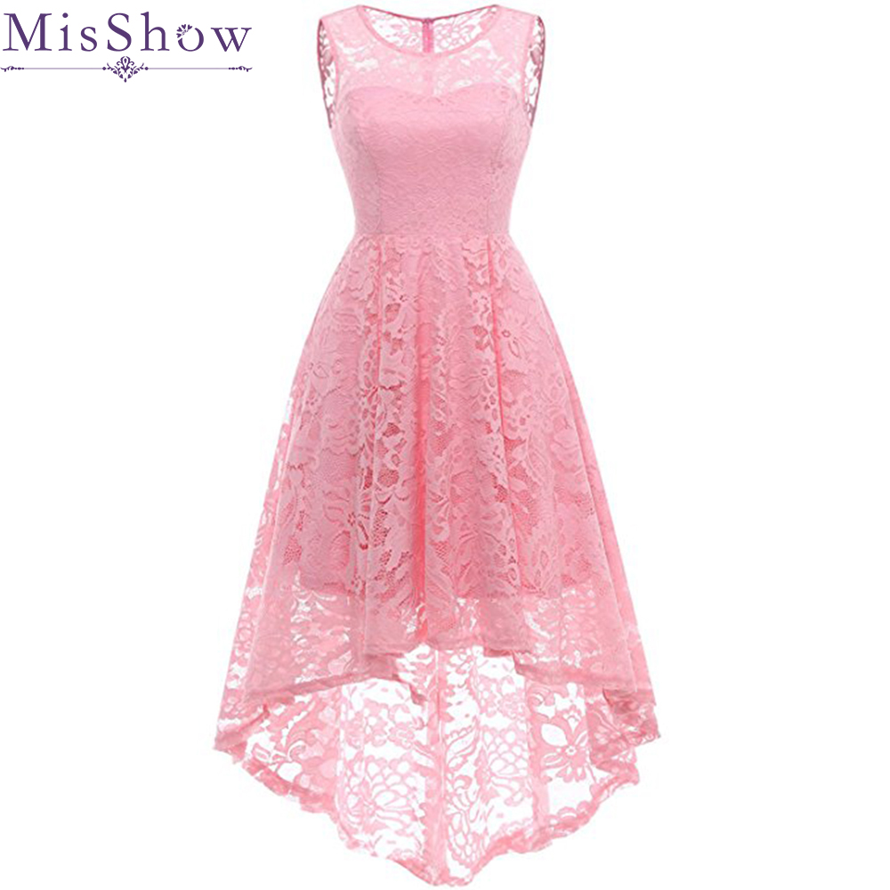 2019 New Female Dress Sexy Sleeveless Long Back Short Front Robe Vintage Retro Casual Party Rockabilly 50s 60s Lace Women Dress