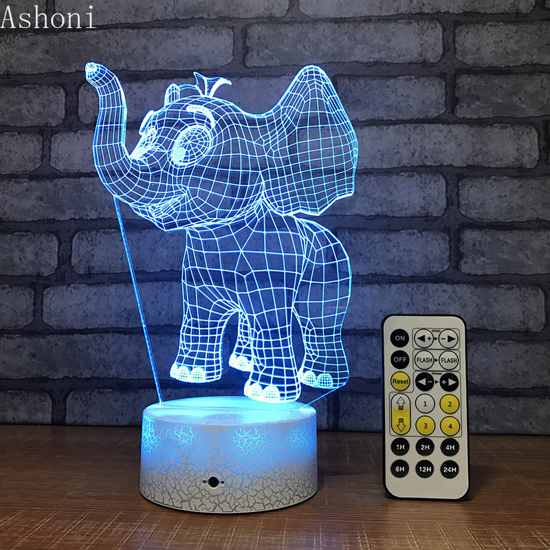 Dumbo Elephant Shape 3D Table Lamp Touch Control 7 Color Changing Acrylic Baby Night Light USB Decorative Kids Christmas Gifts