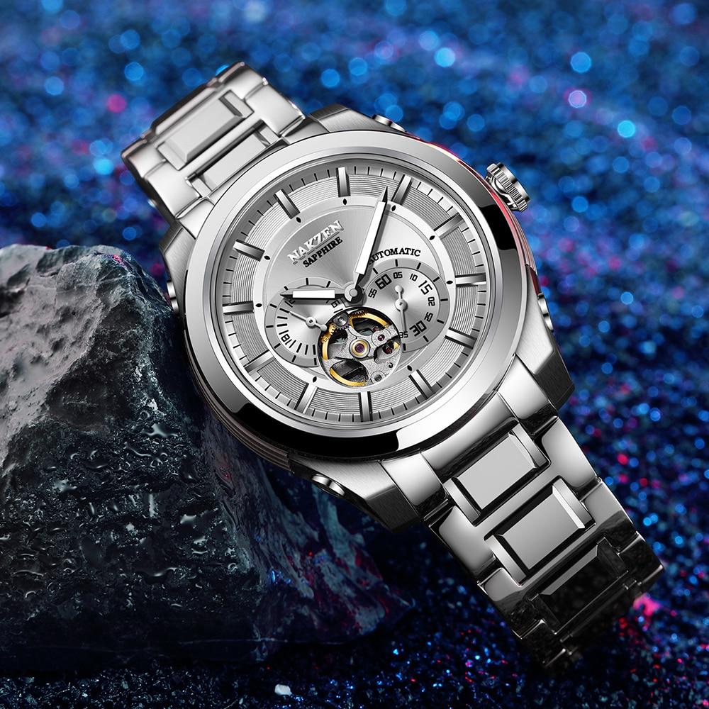 NAKZEN Men Automatic Miyota 82S7 Mechanical Watch Multifunction Luminous Sapphire Watches Luxury Business Stainless Steel Clock