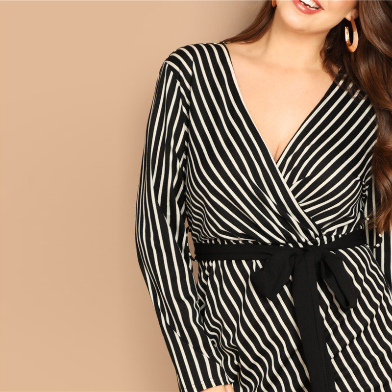 SHEIN Black and White Plus Size Deep V Neck Striped Dress Asymmetrical Hem Women Workwear Going Out Elegant Dresses 10