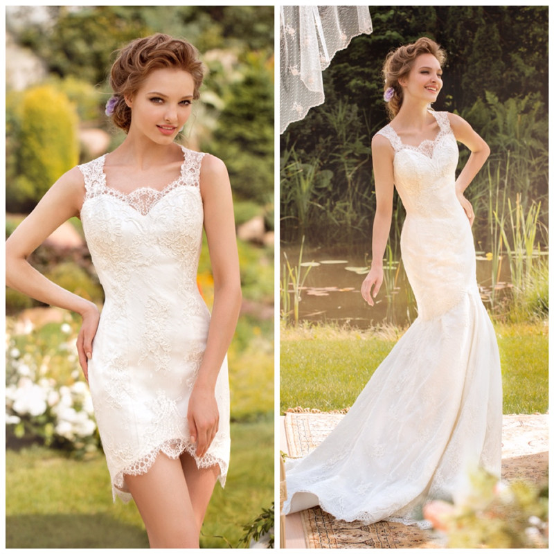 Mermaid Style Lace Wedding Gowns: Country Style Detachable Train Wedding Dresses 2019 Robe