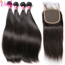 Peruvian Straight Hair Human Hair Bundles With Closure 4 Bundles With Closure 5 Pcs/ L Remy Vanlov Hair Extension Weave Tissage(China)