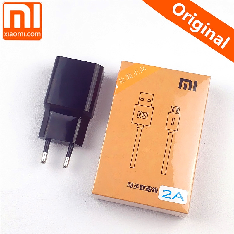 Original 5V/2A EU xiaomi Charger adapter charge micro usb cable For Redmi 5 plus 5a 6a note 6 pro 6a 4x 4a mi 4 3 2 s2