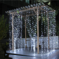 2018 3M x 3M 300 LED Outdoor Home Warm White Christmas Decorative xmas String Fairy Curtain Garlands Party Lights For Wedding