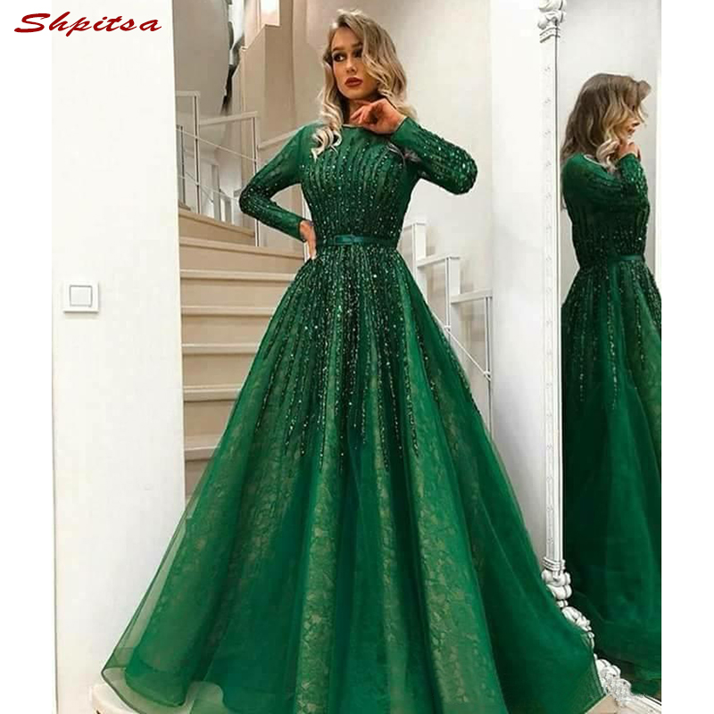 Long Sleeve Mother Of The Bride Dresses For Weddings Beaded A Line Green Evening Gowns Groom Godmother Dinner Dresses 2018