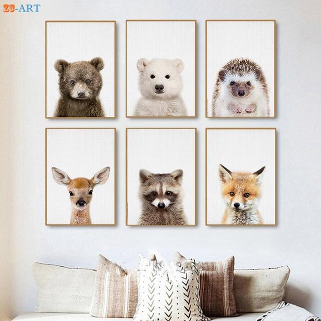 Baby Polar Bear Deer Fox Hedgehog Prints Woodland Nursery Animal Wall Art Kids Room Large Canvas