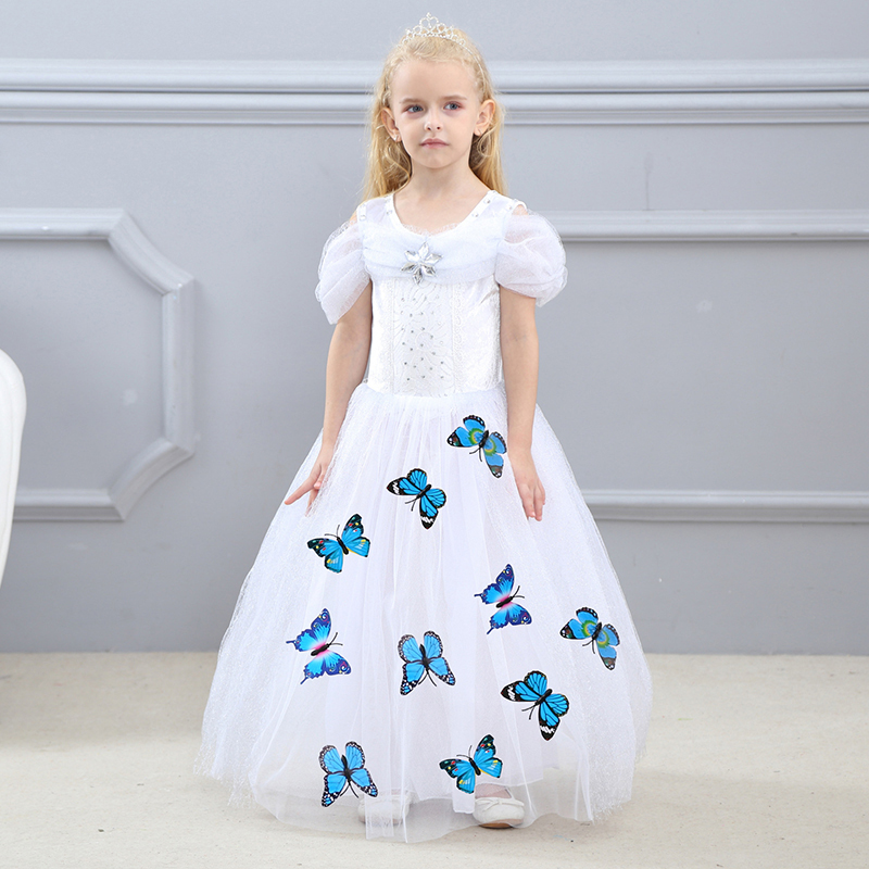 Baby Girls Princess Dresses 2018 Halloween Cinderella Cosplay Show Costume with 10 Butterflys Children Christmas Party Dress new girl blue cinderella dress summer fancy halloween party show princess cinderella dress for cosplay party costume clothes
