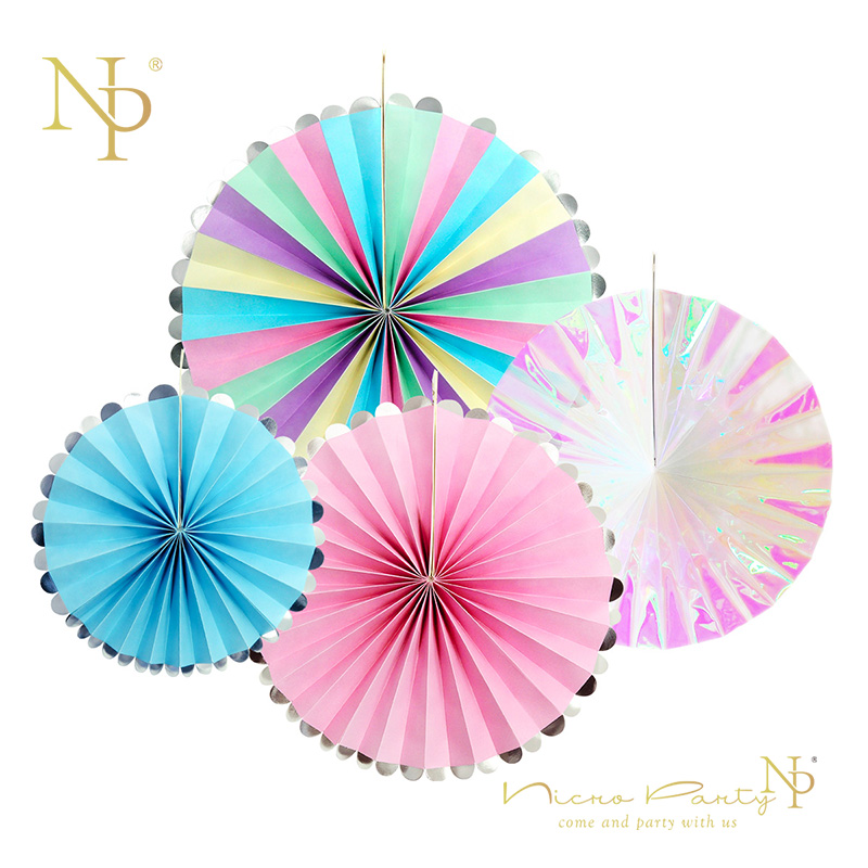 Nicro 4pcs/lot Party Unicorn Rainbow Colorful Paper Fans Set For Wedding Baby Showers Birthday Christmas Home Decorations #FS07