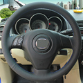 Black Leather Hand-stitched Car Steering Wheel Cover for Old Mazda 3 Mazda 5 Mazda 6 Pentium B70
