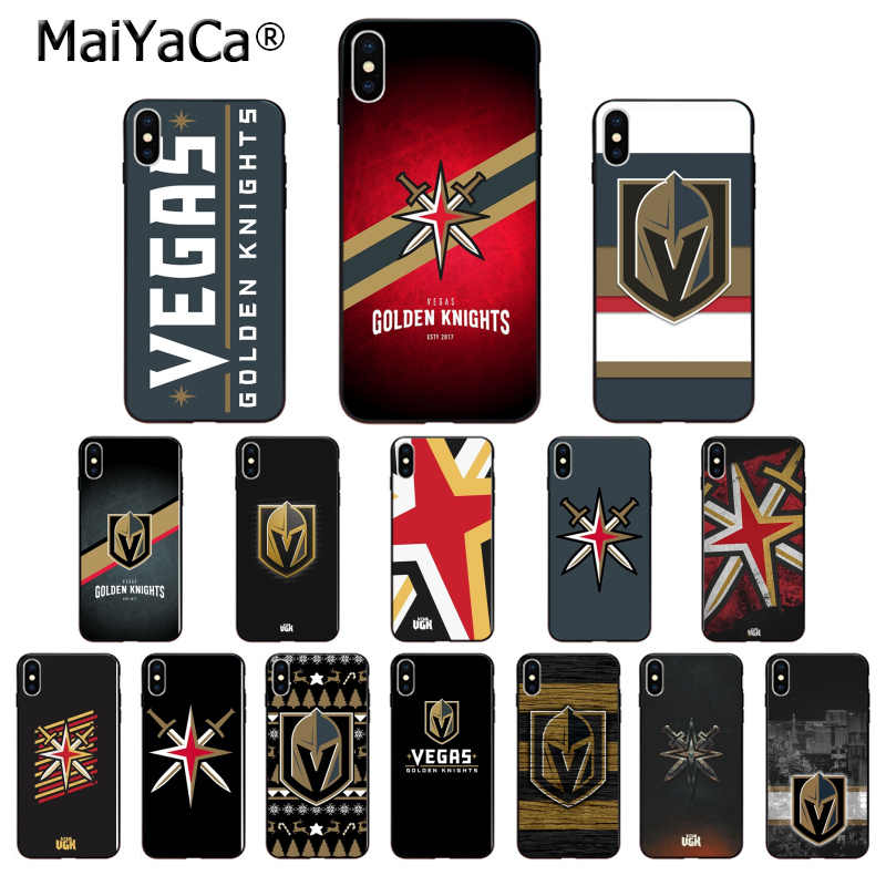 MaiYaCa Vegas Golden Knights Silicone TPU Soft black Phone Case for iPhone X XS MAX 6 6S 7 7plus 8 8Plus 5 5S XR