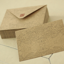 Coloffice 10pcs retro kraft paper envelope Retro architectural pattern gifts envelope  Writing Paper for Office School Supplies