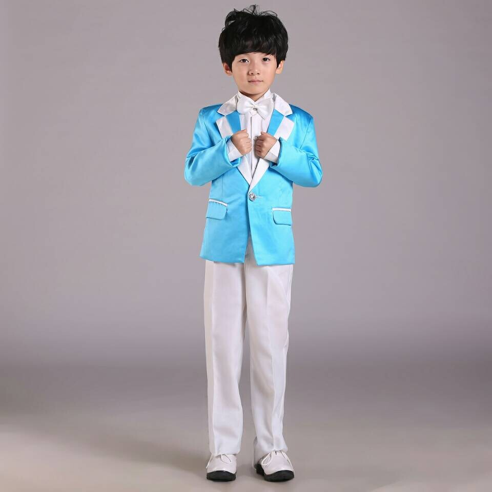 Hot selling boy tuxedo fashion kids school suit blue boys wedding ...