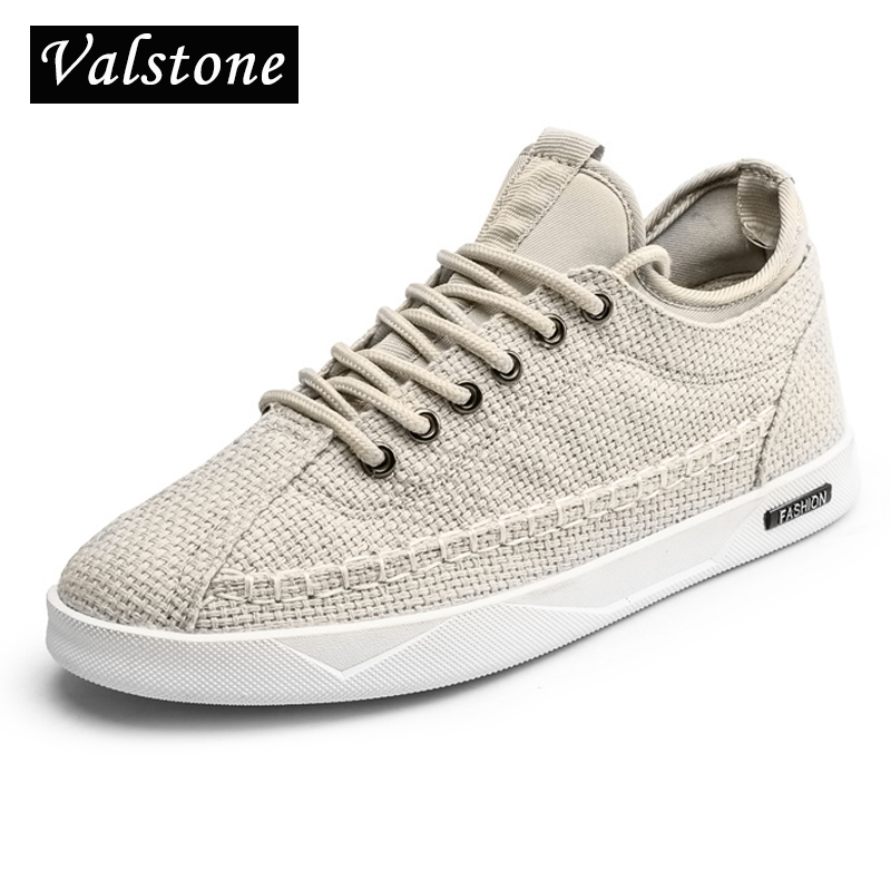 Valstone brand Canvas sneakers men lace up daily flats natural rubber - Men's Shoes