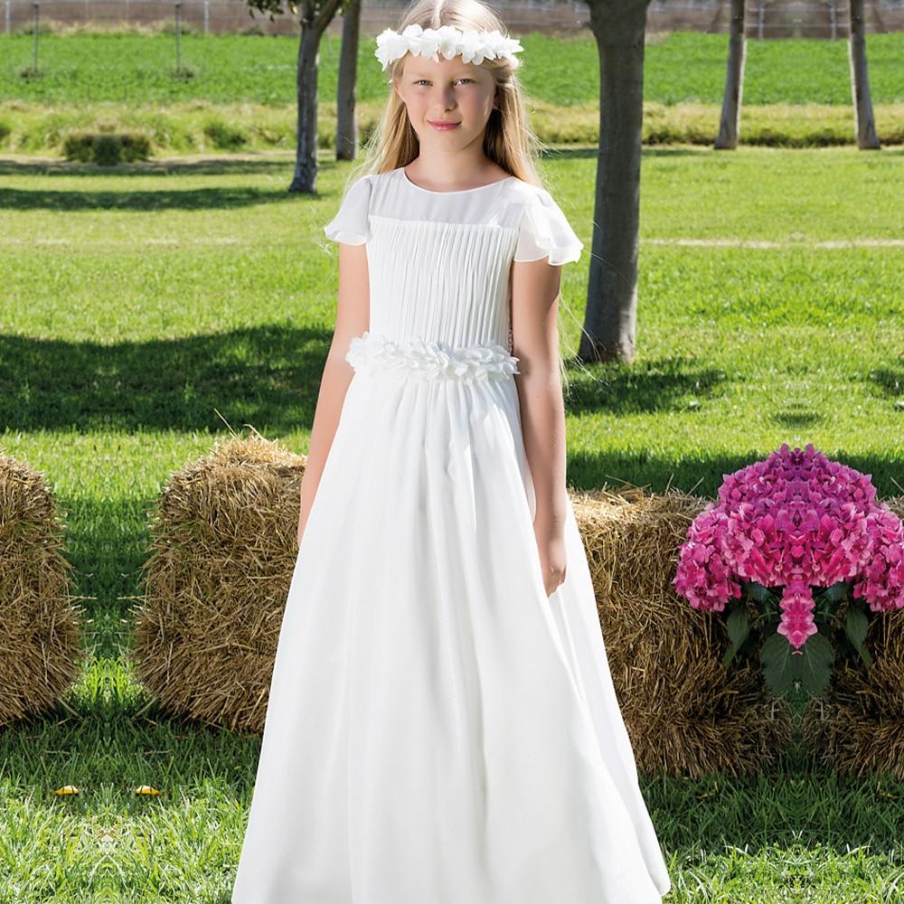 все цены на White Bohemian Flower Girls Dresses for Wedding A-Line Chiffon Beautiful Girls Holy First Communion Dresses онлайн