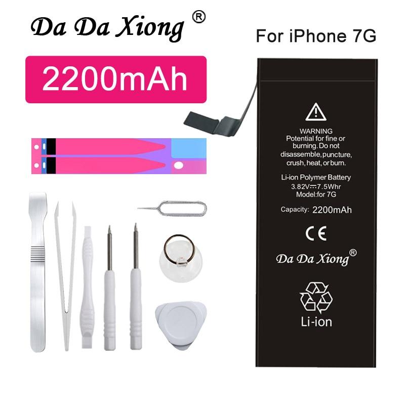 Bateria original da da xiong para iphone 7 7g 2200 mah substituição do telefone de alta capacidade para o iphone 7 7g baterias + ferramentas gratuitas