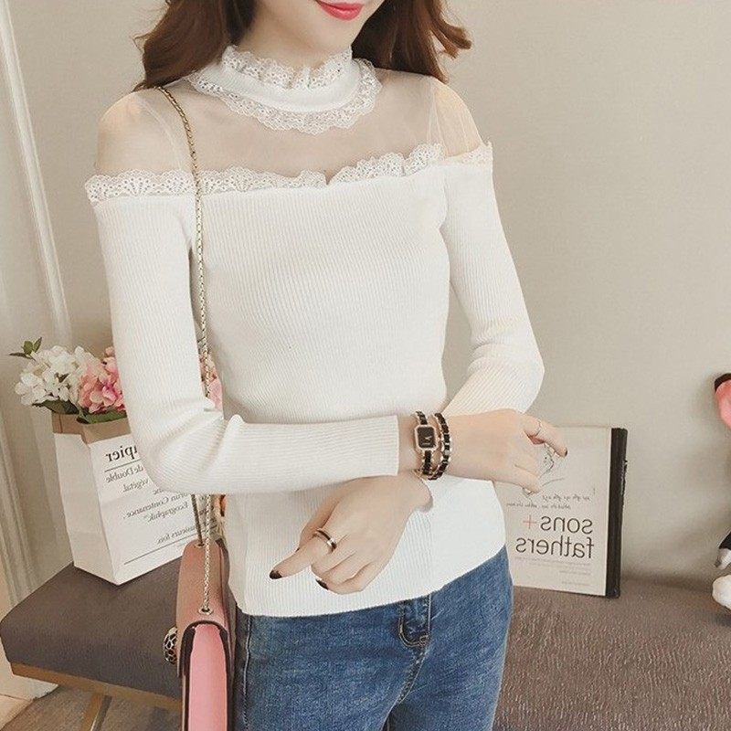 Women Sexy Mesh Perspective Strapless Jumper Tops Casual Lon