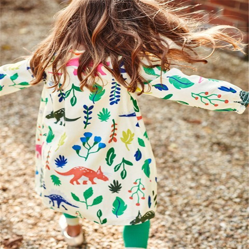 Hot selling baby girls cartoon dresses with printed some dinosaurs kids new designed autumn clothing top quality girls dresses недорго, оригинальная цена